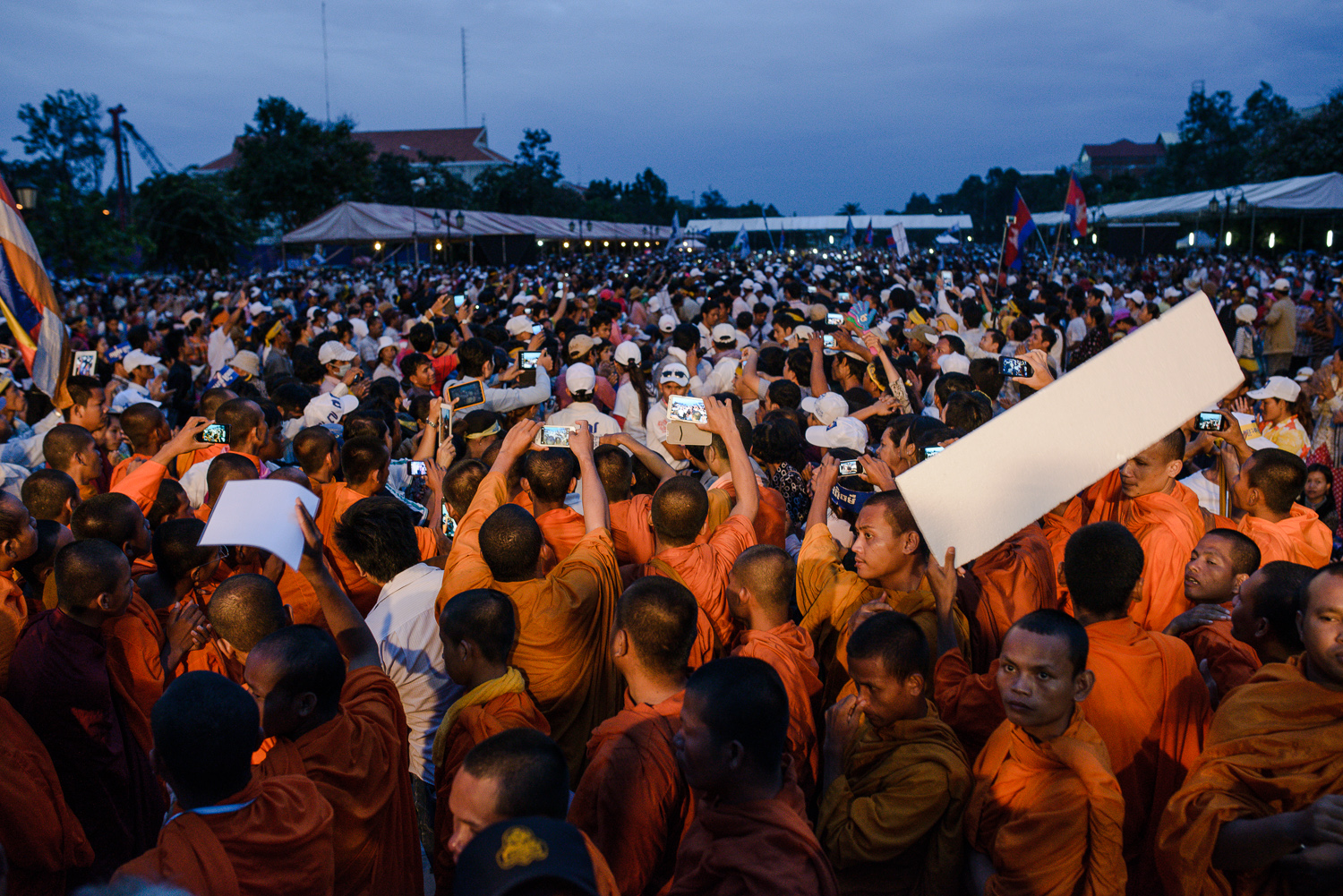 CNRP supporters await the return of Sam Rainsy at Freedom Park,
